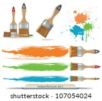 isolated flat brush and spots... | Shutterstock .eps vector #107054024