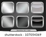set of metal app buttons | Shutterstock .eps vector #107054369