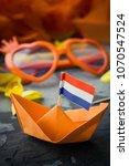 orange origami boat with dutch... | Shutterstock . vector #1070547524