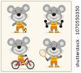 set of funny mouse is engaged... | Shutterstock .eps vector #1070550350
