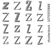 etched silver metal letter z...   Shutterstock . vector #1070555888