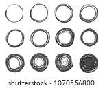 circle scribble line sketch set ... | Shutterstock .eps vector #1070556800