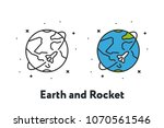 rocket space ship flying around ... | Shutterstock .eps vector #1070561546