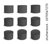 black realistic cylinder  empty ... | Shutterstock .eps vector #1070567270