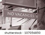 No Vacancies Sign outside of Hotel - stock photo