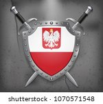 flag of poland with eagle. the... | Shutterstock .eps vector #1070571548