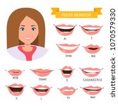 female mouth animation. phoneme ... | Shutterstock .eps vector #1070579330
