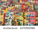 colorful houses in old part of... | Shutterstock . vector #1070583980