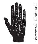 palmistry or chiromancy hand... | Shutterstock .eps vector #1070584310