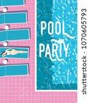 summer pool party invitation... | Shutterstock .eps vector #1070605793
