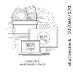online shopping. modern flat... | Shutterstock .eps vector #1070607170
