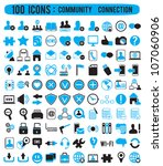 100 community connection icons  ... | Shutterstock .eps vector #107060906