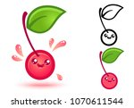vector set icons cherry in... | Shutterstock .eps vector #1070611544