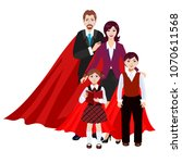 happy super family in red cloak ... | Shutterstock .eps vector #1070611568