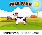 milk farm poster. vector... | Shutterstock .eps vector #1070613500