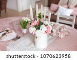 banquet table decorated with... | Shutterstock . vector #1070623958