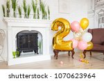 white fireplace with a bright... | Shutterstock . vector #1070623964