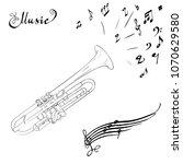 musical wind instrument trumpet ... | Shutterstock .eps vector #1070629580