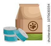 pet shop paper bag with tuna... | Shutterstock .eps vector #1070630354