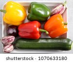 colorful vegetables on a gray...   Shutterstock . vector #1070633180