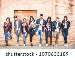 friends group using smartphone... | Shutterstock . vector #1070633189