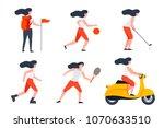 vector set of girls in... | Shutterstock .eps vector #1070633510