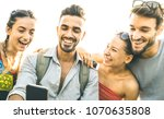 friends group having fun using... | Shutterstock . vector #1070635808