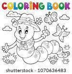 coloring book happy caterpillar ... | Shutterstock .eps vector #1070636483