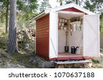 storage shed filled with garden ... | Shutterstock . vector #1070637188