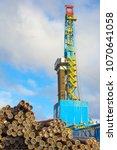 drilling rig for drilling oil... | Shutterstock . vector #1070641058