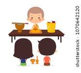 buddhist offering sets of... | Shutterstock .eps vector #1070642120