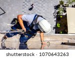 above view on young man ... | Shutterstock . vector #1070643263