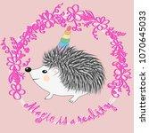 a cute cartoon hedgehog with a... | Shutterstock .eps vector #1070645033