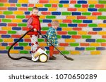 happy village children with... | Shutterstock . vector #1070650289
