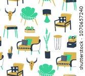 boho style interior. hand drawn ... | Shutterstock .eps vector #1070657240
