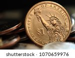 Close up of US one dollar coin - stock photo