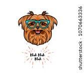 yorkshire terrier geek. smart... | Shutterstock .eps vector #1070663336