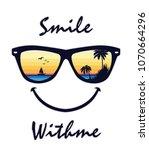 smile sunglasses tropical... | Shutterstock .eps vector #1070664296