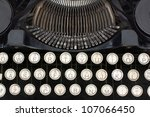Underwood Standard Portable Typewriter with sheet of paper isolated on white background - stock photo