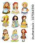 set of beautiful girls in...   Shutterstock .eps vector #107066540