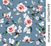 seamless pattern with spring... | Shutterstock . vector #1070665949