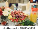 glass plate with fruits on... | Shutterstock . vector #1070668838