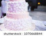 closeup of luxury wedding cake... | Shutterstock . vector #1070668844