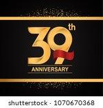 39th anniversary golden design... | Shutterstock .eps vector #1070670368