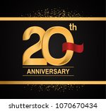 20th anniversary golden design... | Shutterstock .eps vector #1070670434