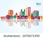 munich skyline detailed... | Shutterstock .eps vector #1070671550