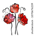watercolor poppies on white... | Shutterstock .eps vector #1070676239
