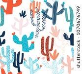 cute hand drawn seamless... | Shutterstock .eps vector #1070676749