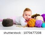 cute little baby girl playin... | Shutterstock . vector #1070677208