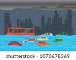 flooding water in city   rain... | Shutterstock .eps vector #1070678369